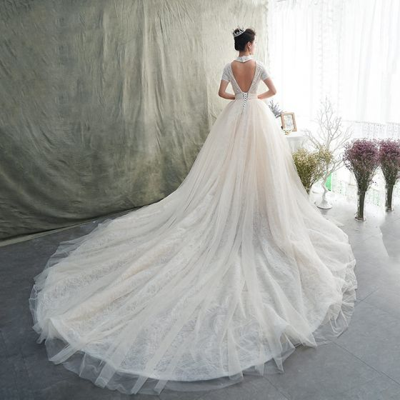 Vintage / Retro Champagne Lace Wedding Dresses 2019 A-Line / Princess Off-The-Shoulder Short Sleeve Backless Heart-shaped Beading Chapel Train Ruffle