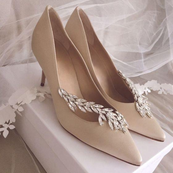 Hermoso Champán Zapatos de novia 2019 Cuero Crystal 10 cm Stilettos / Tacones De Aguja Punta Estrecha Boda Tacones