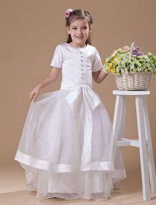 Beautiful White Satin Flower Girl Dress