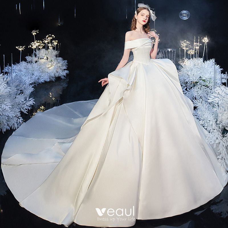 Modest Simple Ivory Satin Bridal Wedding Dresses 2020 Ball Gown Off The Shoulder Short Sleeve Backless Cathedral Train Ruffle,Boho Beach Wedding Guest Dress
