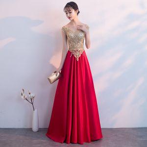 Charming Burgundy Evening Dresses  2019 A-Line / Princess V-Neck Lace Flower Rhinestone Short Sleeve Backless Floor-Length / Long Formal Dresses