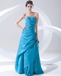 Fashion Taffeta Beaded Pleated Strapless Floor Length Prom Dress