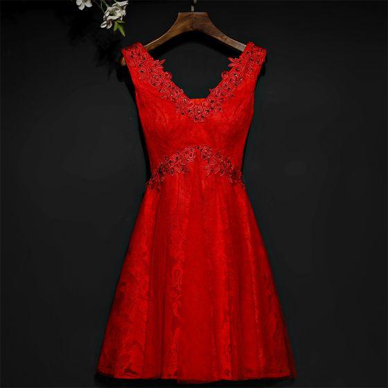 Hermoso Rojo Vestidos Formales Vestidos de noche 2017 Con Encaje Flor Lentejuelas V-Cuello Cortos Sin Mangas A-Line / Princess