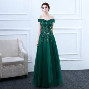 Chic / Beautiful Dark Green Prom Dresses 2018 A-Line / Princess Lace Flower Beading Sequins Off-The-Shoulder Backless Sleeveless Floor-Length / Long Formal Dresses