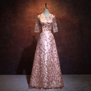 Chic / Beautiful Pearl Pink Evening Dresses  2017 A-Line / Princess Scoop Neck 1/2 Sleeves Sequins Sash Floor-Length / Long Backless Formal Dresses