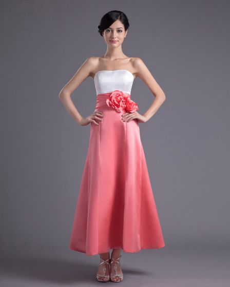 Fashion Satin Flower Strapless Ankle Length Bridesmaid Dress