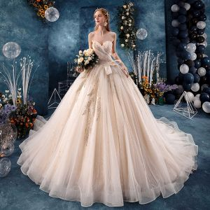 Charming Champagne Wedding Dresses 2019 A-Line / Princess Sweetheart Sequins Lace Flower Sleeveless Backless Cathedral Train