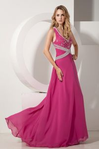 2015 Sleeveless V-neck Floor Length Fuchsia Chiffon Evening Dress
