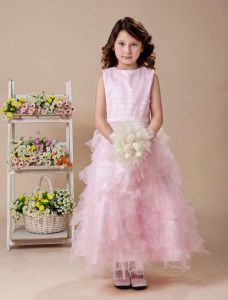 Pink A-line Jewel Satin Tea Length Flower Girl Dress
