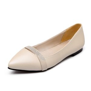 Chic Nude Pumps Womens Flat Shoes With Rhinestone