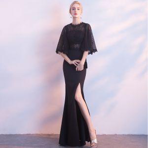 Stylowe / Modne Czarne Sukienki Wieczorowe 2018 Syrena / Rozkloszowane Wycięciem 1/2 Rękawy Podział Przodu Długie Sukienki Wizytowe