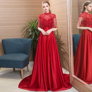 Classic Burgundy Evening Dresses  2019 A-Line / Princess High Neck Beading Crystal Tassel Short Sleeve Backless Lace Flower Court Train Formal Dresses