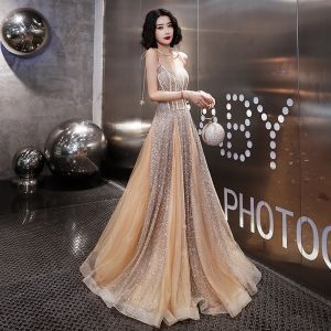 Sparkly See-through Gold Evening Dresses  2019 A-Line / Princess Spaghetti Straps Sleeveless Glitter Floor-Length / Long Ruffle Backless Formal Dresses