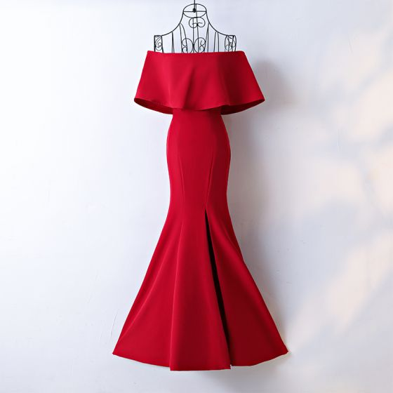 Chic / Beautiful Red Evening Dresses  Trumpet / Mermaid 2017 Off-The-Shoulder Short Sleeve Ankle Length Evening Party