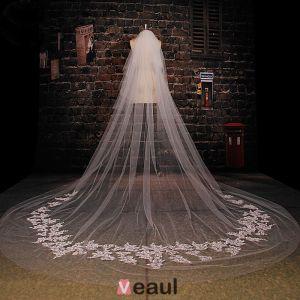 Super Lange Tailing Weißen Spitzenschleier Weichen Brautschleier