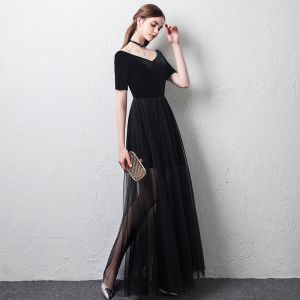 Affordable Summer Black Evening Dresses  2018 A-Line / Princess Off-The-Shoulder V-Neck Short Sleeve Ankle Length Ruffle Backless Formal Dresses