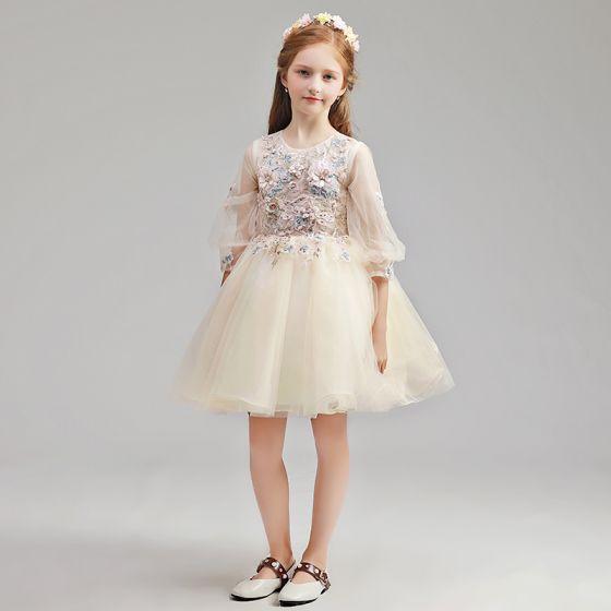 ba3eb7cd7f Piękne Szampan Sukienki Dla Dziewczynek 2019 Princessa Wycięciem Bufiasta  3 4 Rękawy Aplikacje Z Koronki Perła Rhinestone Krótkie ...
