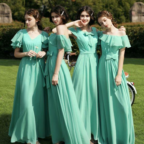 Affordable Mint Green Chiffon Bridesmaid Dresses 2020 A-Line / Princess Short Sleeve Backless Sash Floor-Length / Long Ruffle