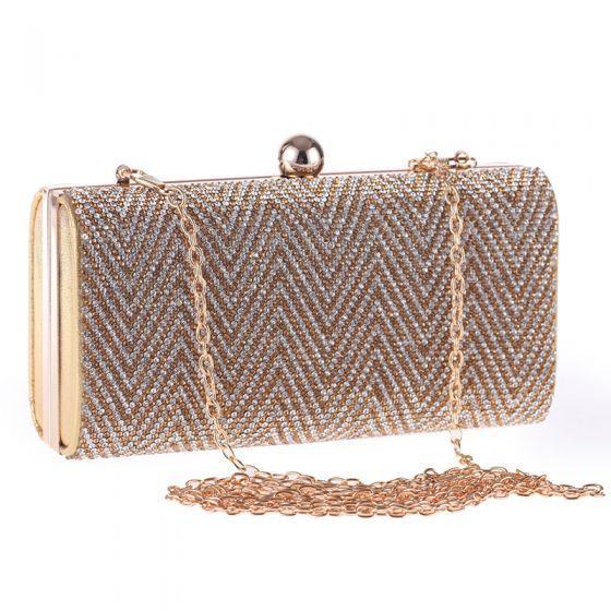 Chic / Beautiful Gold Glitter Rhinestone Patent Leather Metal Clutch Bags 2018