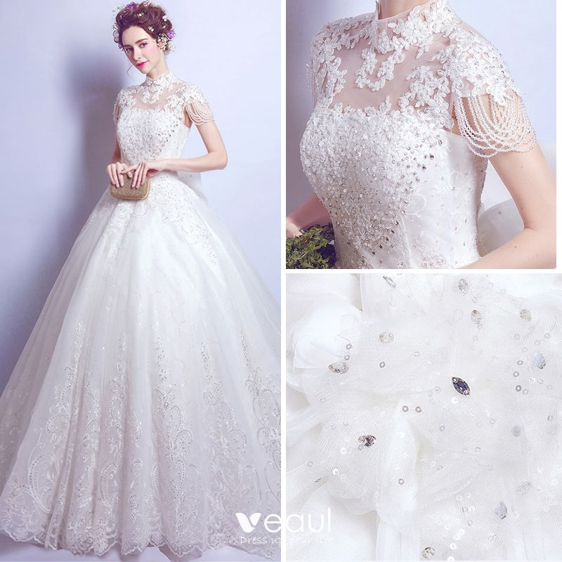 Chic / Beautiful White Wedding Dresses 2017 A-Line / Princess Lace High Neck Appliques Backless Beading Wedding