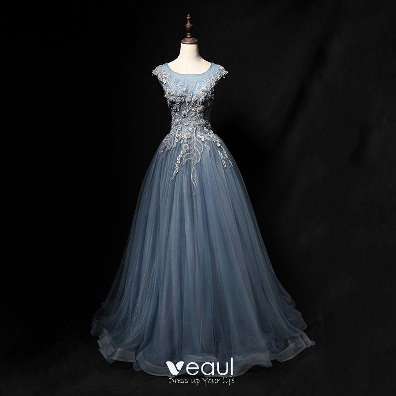 31a2f8765266d Chic / Beautiful Grey Sky Blue Prom Dresses 2018 A-Line / Princess ...