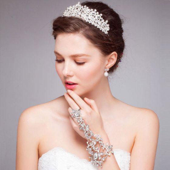 Hvit Luksus Diamant Krone Tiara / Bryllup Har Tilbehør Brude Smykker Stykke Montert