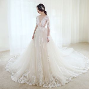 Illusion Champagne Wedding Dresses 2019 A-Line / Princess See-through Deep V-Neck Long Sleeve Backless Appliques Lace Beading Cathedral Train Ruffle
