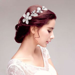Shine Rhinestone Lace Flower Bridal Headpiece Wedding Hair Accessories Wedding Jewelry