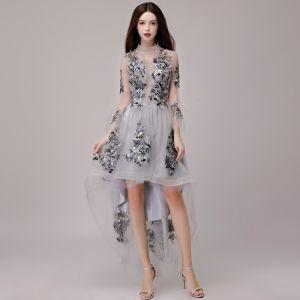 Vestido Alto Gris Vestidos de cóctel 2018 A-Line / Princess Con Encaje Apliques Asimétrico Cuello Alto 3/4 Ærmer Vestidos Formales
