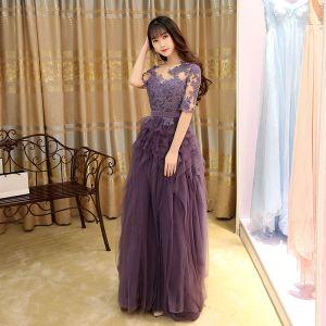 Moderne / Mode Grape Robe De Soirée 2017 Princesse Plissée Longue Encolure Dégagée 1/2 Manches En Dentelle Appliques Ceinture Percé Robe De Ceremonie