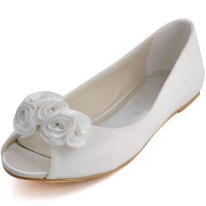 Comfortabele En Stijlvolle Handgemaakte Zoete Bloemen, Vis Kop Met Platte Schoenen Trouwschoenen Bruidsschoenen