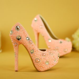 Lovely Candy Pink Pearl Wedding Shoes 2019 Crystal 14 cm Stiletto Heels Round Toe Wedding Pumps