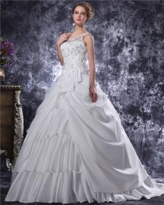 Graceful Beading Ruffles Spaghetti Straps Charmeuse A Line Wedding Dress