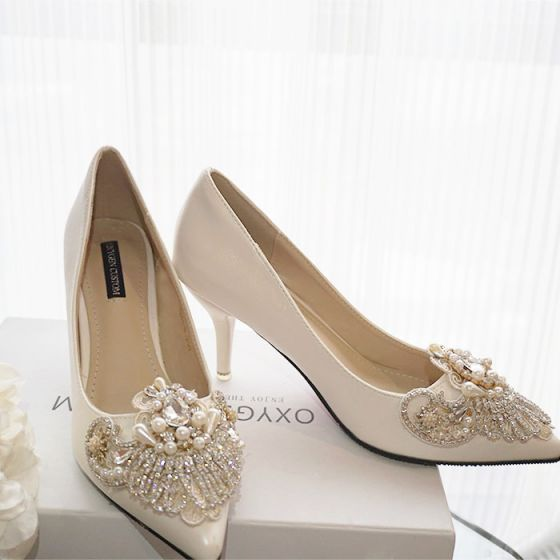Luxus / Herrlich Ivory / Creme Handgefertigt Perlenstickerei Brautschuhe 2019 Perle Strass 10 cm Stilettos Peeptoes Hochzeit Pumps
