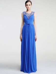 2016 Scoop Neckline Beading Rhinestones Pleated Blue Evening Dress With Bow Sash