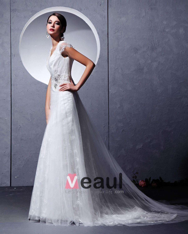 Ruffles Yarn Lace Sleeveless V-Neck Chapel Train Empire Wedding Dresses