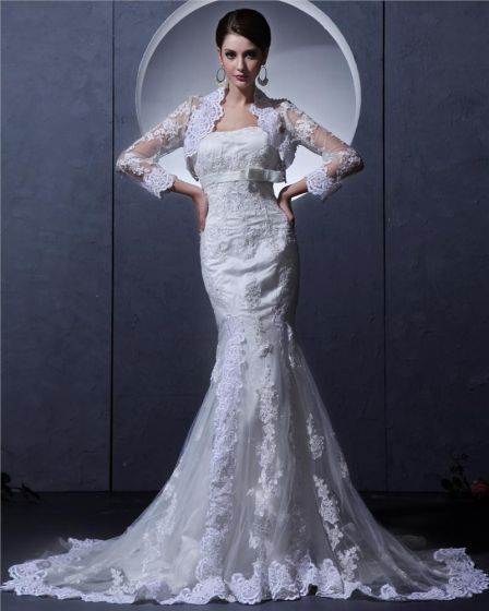 vestidos de novia vestido de boda vaina de corte sin tirantes con