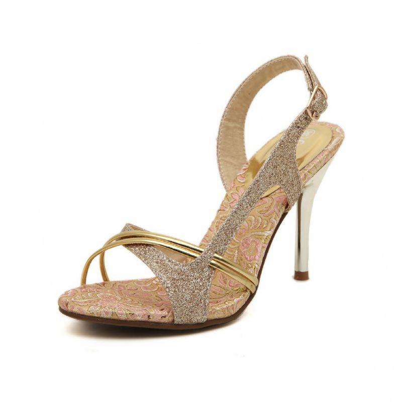 Fashion Summer Heels Gold Sparkly Stiletto Heels Evening Shoes