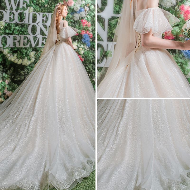 Bling Bling Champagne See-through Wedding Dresses 2019 A-Line / Princess Scoop Neck Short Sleeve Backless Beading Glitter Lace Chapel Train Ruffle