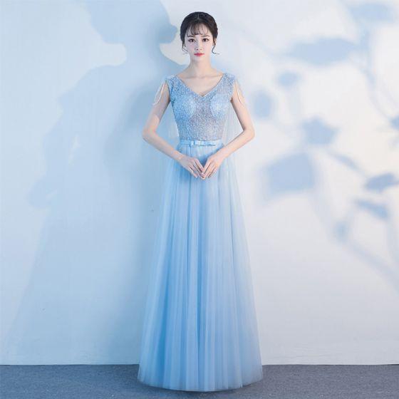 Hermoso Azul Cielo Largos Vestidos de noche 2018 A-Line / Princess V-Cuello Tul Apliques Sin Espalda Rebordear Perla Traspasado Noche Vestidos Formales