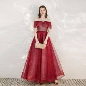 Sparkly Burgundy Glitter Evening Dresses  2020 A-Line / Princess Off-The-Shoulder Short Sleeve Backless Floor-Length / Long Formal Dresses
