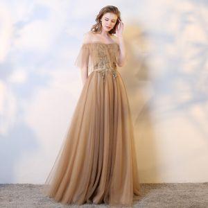 Schöne Champagner Abendkleider 2019 A Linie Ärmellos Perlenstickerei Pailletten Perle Kristall Off Shoulder Rückenfreies Lange Festliche Kleider