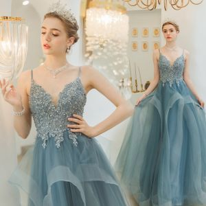 Charming Pool Blue Evening Dresses  2019 A-Line / Princess Spaghetti Straps Beading Sequins Lace Flower Sleeveless Backless Cascading Ruffles Floor-Length / Long Formal Dresses