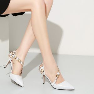 Luxury / Gorgeous 2017 White Casual Leather Appliques Rhinestone High Heels Stiletto Heels 6 cm Pumps