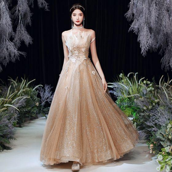 Charming Gold Dancing Prom Dresses 2020 A-Line / Princess Strapless Sleeveless Beading Glitter Tulle Floor-Length / Long Ruffle Backless Formal Dresses