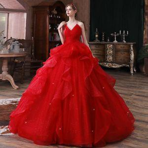 Hermoso Rojo Boda Vestidos De Novia 2020 Ball Gown Sweetheart Sin Mangas Sin Espalda Glitter Tul Cathedral Train Ruffle