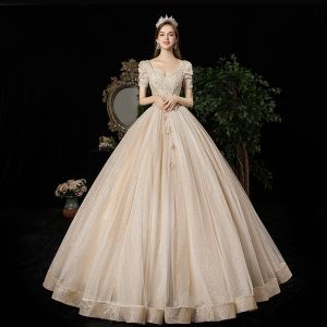 Victorian Style Vintage / Retro Champagne Wedding Dresses 2020 A-Line / Princess V-Neck Beading Pearl Rhinestone Lace Flower Sequins Short Sleeve Backless Floor-Length / Long