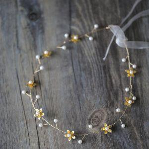 Erschwinglich Gold Stirnbänder Haarschmuck Braut  2020 Metall Schnüren Perle Blumen Kopfschmuck Hochzeits Brautaccessoires