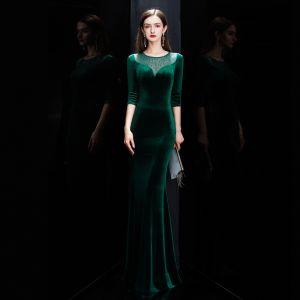 Abordable Vert Foncé Velour Hiver Robe De Soirée 2020 Trompette / Sirène Transparentes Encolure Dégagée 3/4 Manches Faux Diamant Longue Robe De Ceremonie
