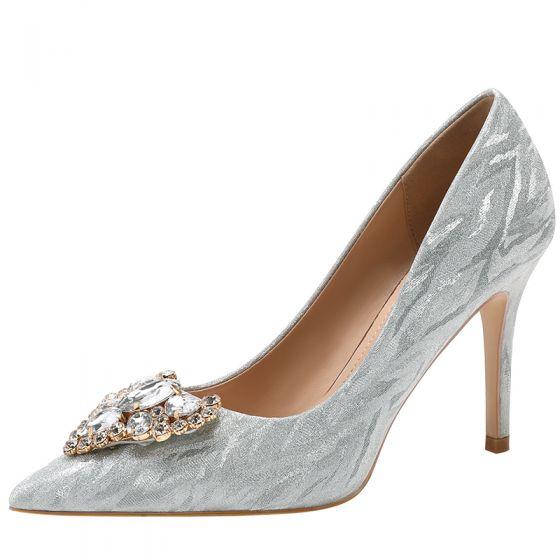 Uroczy Srebrny Kryształ Rhinestone Buty Ślubne 2020 9 cm Szpilki Szpiczaste Ślub Czółenka